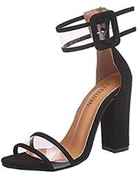 e5226f7bd043 Chaussures à Talons Femme Sandales Boucle à Hauts Femmes de Plage Sandales  été Bout Rond Talon