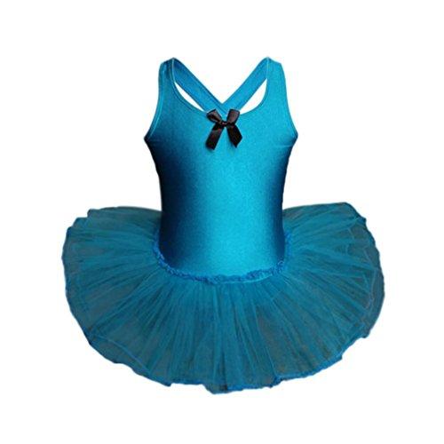 K-youth® Chaleco de baile para niñas Ropa de rendimiento de práctica de ballet siamés Falda Traje de Baile Vestido Tutú de Ballet Falda de Danza Ropa para Gimnasia para Niñas (Azul, 5 años)