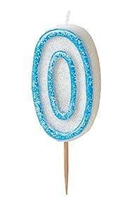 Unique Party- Vela de cumpleaños número 0, Color azul brillante (37920)