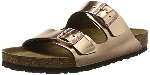 Leder-pantolette Metallic (Birkenstock Classic Damen Arizona Leder Softfootbed Pantoletten, Braun (Metallic Copper), 38 EU)