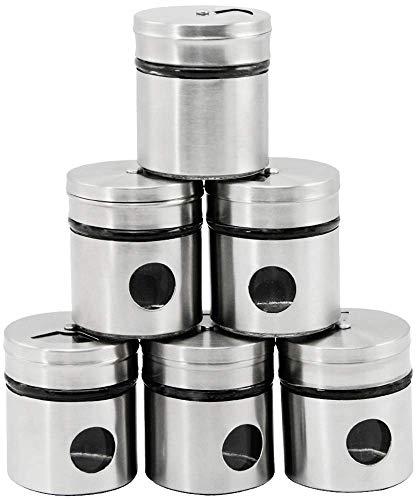 com-four® 6-teiliges Gewürzstreuer Set aus Edelstahl für Salz, Pfeffer sowie weitere Kräuter (06-teilig)