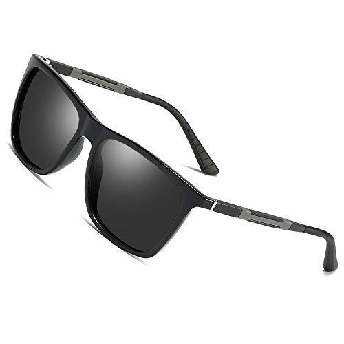 Sonnenbrille Polarisierte Herren damen Gläser für Outdoor Sport,100% UVA/ UV 400 SCHUTZ Brille Unisex Modische Fahrer für Golf /Autofahren Outdoor Sport Angeln /Sport Ultra Leicht Sonnenbrille (black)