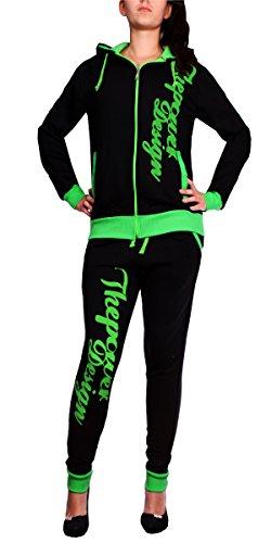 Kinder Jogging-Anzug   506 The Power Anzug   Mädchen Trainings-Anzug, Schwarz/Grün, XXS -fällt größer aus (32)