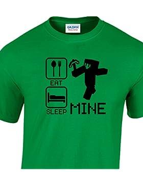 EAT SLEEP MINE Funny Kinder Jungen und Mädchen, Kids T Shirt, Tshirt Alter 3–4, 5–6, 7–8, 9–1112–13.