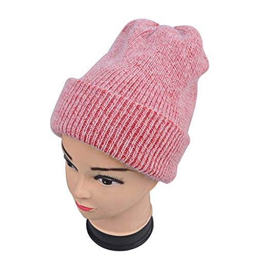 GROOMY Women Girls Simple Winter Autumn Thicken Knit Hat Angora Rabbit Fur Solid Color Double Fist Cape Hat Cap Skullies Warmer Beanies - Red