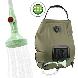 KIPIDA Campingdusche Solardusche 20L Duschsack Solar Heizung Camping Dusche Tasche mit Duschkopf & On-Off Switchable…