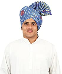 eKolhapuri Traditional Handstitched Ready To Wear Khadi Print Roto Jari Blue Pheta (Turban Safa) for Men