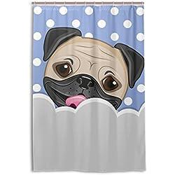 bennigiry cortina de ducha de perro carlino resistente al agua cortina de baño poliéster tejido impermeable cortina de ducha de tela con ganchos para baño habitación 36W x 72L, Multi, Multicolor, 48x72