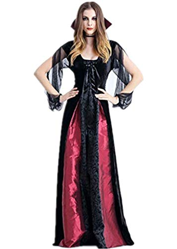 Hollywood Kostüm Brautkleider - Auiyut Damen Halloween Kleid Steampunk Gothic Kostüm Magic Mistress Hexenkostüm Teufelchen Halloween Cosplay Partykleid Vampir Lang Gothic Kleid