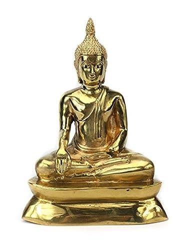 Thailändische Sitzender Buddha Statue Metall, Gold Finish, ca. 21cm hoch, cm6078