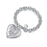 BESTPICKS 925 Sterling Silver Photo Locket Bracelet Gift for Women