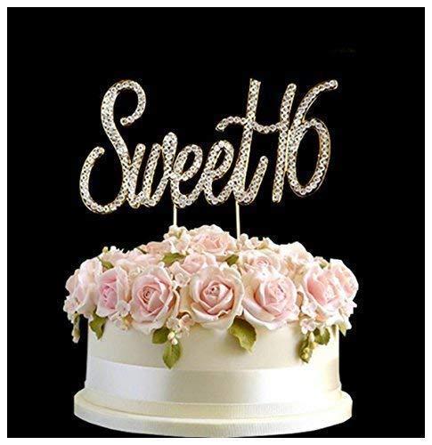 (Strass Kristall Geburtstag Jahrestag Tortenaufsatz Pick Sweet 1616. Diamantenform Dekoration–Sweet 16Gold)