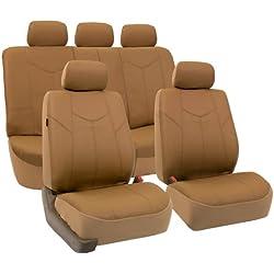 FH GROUP Rome Set de fundas para asientos de automóvil, hechas de cuero sintético, color marrón