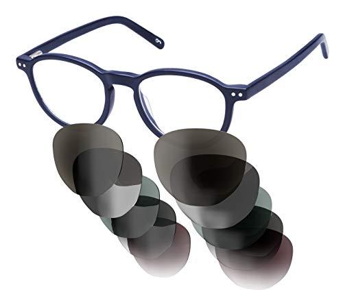 Sym Sonnenbrille mit wählbarer Sehstärke von -4.00 (kurzsichtig) bis +4.00 (weitsichtig) und auswechselbaren Gläser in 6 Farben, für Damen & Herren (Unisex), Modell 04