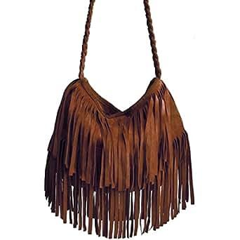Accessoryo - artificiel daim marron gland frange sac à main des femmes avec bandoulière réglable