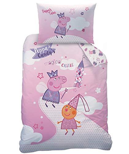 Familando Peppa Pig Peppa Wutz Baby Bettwäsche Set Größe 100 x 135cm 40 x 60cm 100% Baumwolle Fairytale (100% Baumwolle Renforcè/Linon)