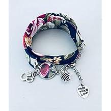 84cb22088f436 Bracelet Liberty, Bracelet à parfumer en tissu Liberty fleuri bleu marine, bracelet  porte bonheur
