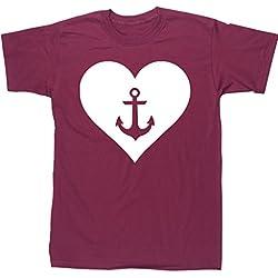 HippoWarehouse Corazón Ancla camiseta manga corta unisex