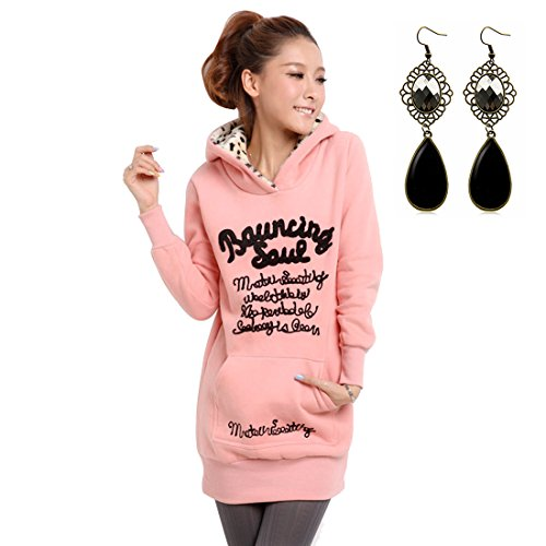 M-Queen Femmes Capuche Tops Manches Longues Poche Bodycon Mini Robe Casual Sweatshirt Pullover Hoodies Jumper Blouson Chemisier Sportswear Rose
