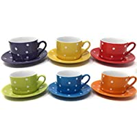 Set of 6 Stoneware Cups and Saucers, Polka Dot Design, 200ml
