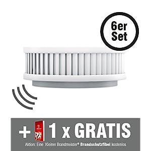 6 Funkrauchmelder im Set Pyrexx PX-1C V3-Q mit mehr als 10 Jahre-Batterie Laufzeit (Lithium) inklusive Kleiner Brandmeister Brandschutzfibel, Befestigung per Magnet, Wartungs-App, Funkmodul, Feuermelder Made in Germany Brandmelder mit TÜV und Q-Zertifikat funkvernetzt weiß klein laut batteriebetrieben selbstklebend smarthome vernetzbar koppelbar