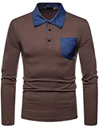 05b22f002560c7 PAOLIAN T-Shirt Herren Longsleeve Langarmshirt Poloshirt Männer Basic Langarm  Shirt mit Knopfleiste Pullover Top