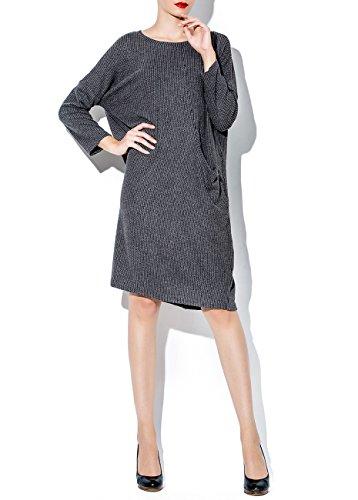 ELLAZHU Femme Automne Hiver Lâche Col Ras-Du-Cou Poche Robe SZ364 Grey