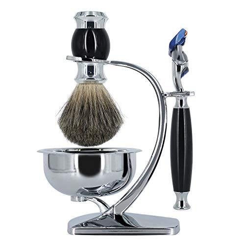 GRUTTI Premium Rasierpinselset mit Luxus-Bürstenständer und Bürstenhalter für Seifenschale und Rasiermesser-Geschenk-Rasiersets für Männer (Fusion 5 & Dachshaar-Version)-MEHRWEG