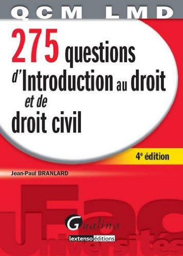 275 questions d'introduction au droit et de droit civil