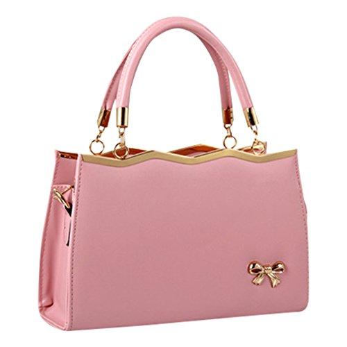 MissFox Borsa A Spalla Donna Borse A Mano Borsa Messenger Donna Cravatta A Farfalla Pink