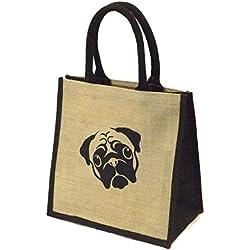 Yute arpillera media, adornos en color negro bolsa de la compra–diseño de CARLINO