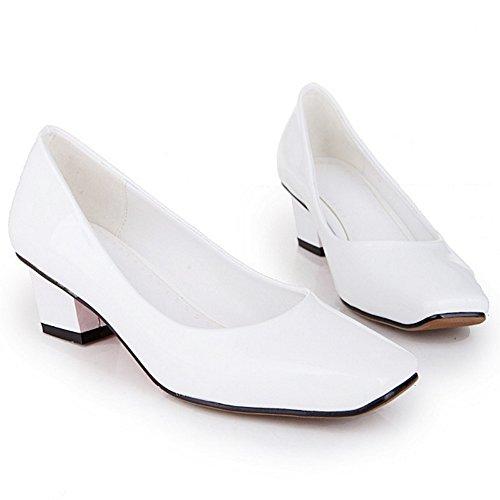 COOLCEPT Damen Mode Slip On Pumps Mitte Blockabsatz Schuhe White