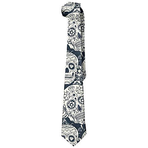 Integrity merchant Men Dead Sugar Skull Floral Flower Polyester Silk Formal Gentleman Tie Necktie Gift Box (Sugar Skull Dress Up)