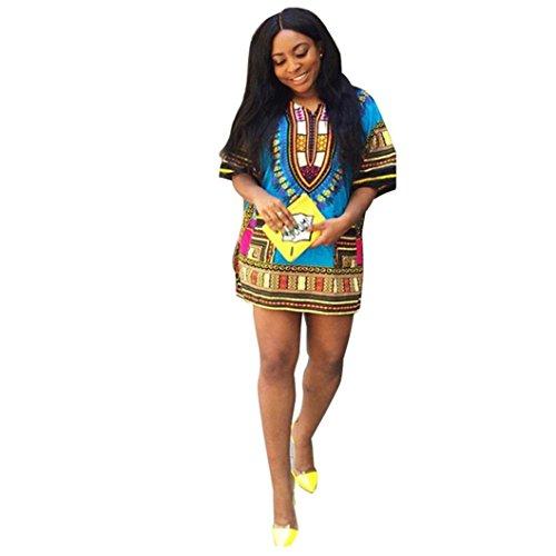 Sannysis Damen Traditionelle Afrikanische Gerade Print Minikleider Himmelblau