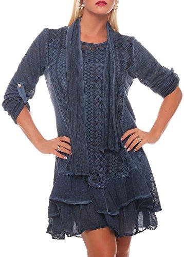 malito Robe avec écharpe Cardigan Irregular Gilet Veste Enrouler Boléro Pulls Casual 6283 Femme Taille Unique bleu foncé