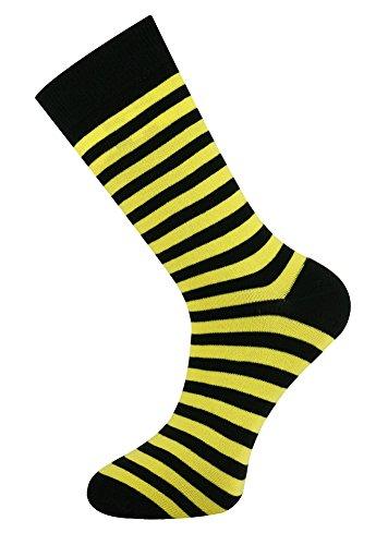 Calcetines tobilleros amarillos de rayas amarillas y negras