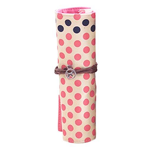 SYGoodBUY Unisex Roll Canvas Case Bleistift Tasche/Stift/Manual Kugelschreiber Streifen und Polka Dot Pattern (Farbe : Rosa, Größe : Einheitsgröße) (Tasche Polka Dot Rosa)