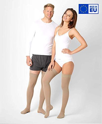®BeFit24 Abgestufte medizinische Kompressionsstrümpfe (18-21 mmHg, 90 Den, Klasse 1) für Damen und Herren - Stützstrümpfe für Flug und Schwangerschaft - Medical Compression Stockings - Beige