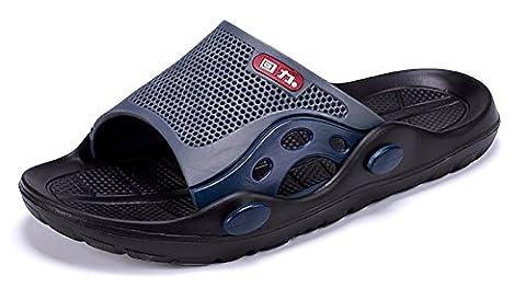 Pantoufles à enfiler antidérapant douche plage Sandales Mule Bout Ouvert Chaussures de piscine diapositive de Salle de Bain pour adulte,