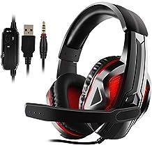 Jamswall Stereo-Gaming-Headset für PS4, PC, Xbox One, Geräuschunterdrückung, Over-Ear-Kopfhörer mit Mikrofon, Bass-Surround, weiche Memory-Ohrenschützer für Laptop Switch Games
