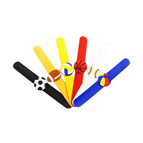 nd Silikon Fußball Wasserball Basketball Baseball Volleyball Sport Slap Armband Sport Thema Party Favor 6 Stück ()