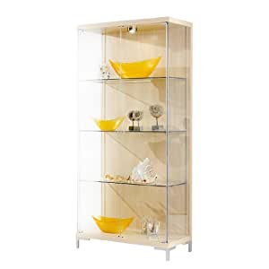 Wall Hung Cabinet, Black Glass Display Wall Unit, with 4 Glass Shelves