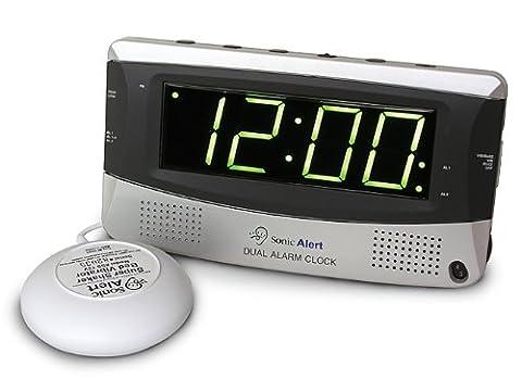 Sonic Alert 375SS Silver Dual Alarm Clock with Vibrating Shaker Pad- UK Version