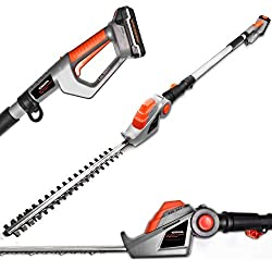 Long Reach Cordless Hedge Trimmer 18V/20V-Max Lithium-Ion 2.4m Telescopic Extendable Pole 450mm Cutting Length, 5 Positions for Tall Hedges, Battery Powered Battery, Charger & Shoulder Strap Included