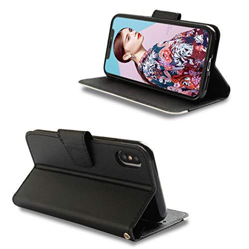 LaVibe Coque iPhone XS Max 6.5 Pouces, Housse en Cuir PU Leather à Rabat Emplacement pour Cartes Multiples Clapet 3D Splice Design, UV Imprimer Appareil Photo Protection Cover –Noir + Blanc