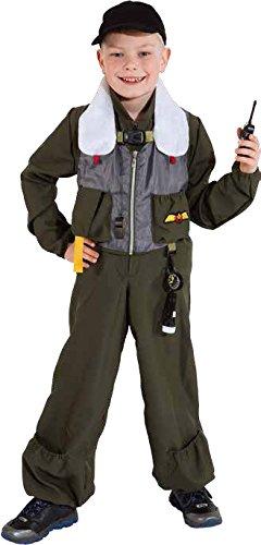 Kinder Kostüm Jet Pilot viel Zubehör zu Karneval Fasching Gr.128-140