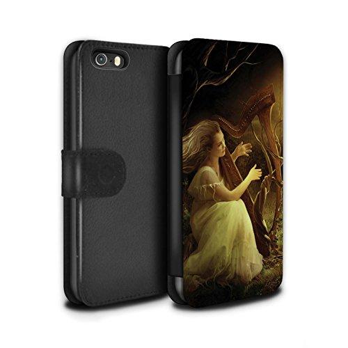 Offiziell Elena Dudina PU-Leder Hülle/Case/Tasche/Cover für Apple iPhone SE / Harfe/Harfenspieler Muster / Trost der Musik Kollektion Melodie der Stille