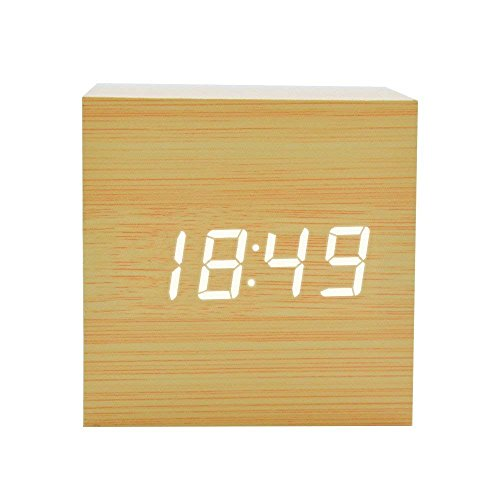 FONCBIEN Despertador Matin Digital Madera Mini Reloj