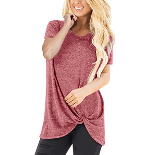 Casual Women Shirts, riou Solid Color Basic Short Sleeve Crew Neck Sweatshirt for Women Casual Buckle Blouse for Girls Dress Shirts