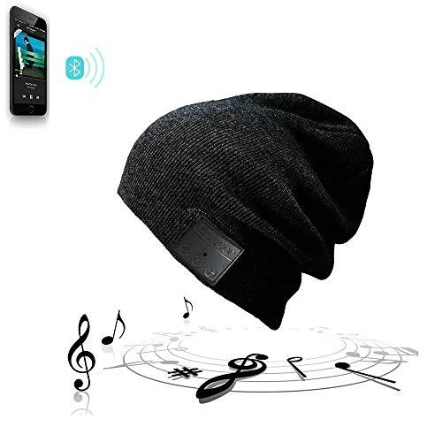 EXCOUP Bluetooth Beanie Mütze, Music Cap Wintermütze Headset Kopfhörer Funkkopfhörer Stereo-Lautsprecher-Mikrofon Wireless Cap Kompatibel mit Smartphone Unisex Schwarz